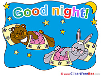 Animals Rabbit Bear Stars Moon Good Night download Illustration
