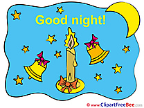 Bells Candle Moon Stars Pics Good Night Illustration