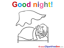Blanket Bed Girl Good Night Clip Art for free