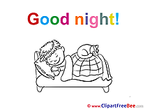 Kid Boy Cat Clipart Good Night Illustrations