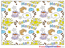 Good Morning Sun Croissants Coffee Clip Art download Hello