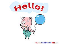 Pig Balloon Cliparts Hello for free