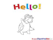 Turtle printable Illustrations Hello