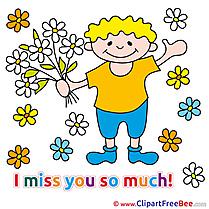Bouquet Flowers I miss You download Illustration