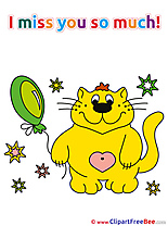Cat Balloon free Illustration I miss You
