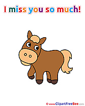 Horse Clipart I miss You Illustrations