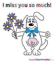 Rabbit Flowers download Clipart I miss You Cliparts