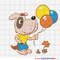 Dog with Balloons Patterns free Cross Stitch
