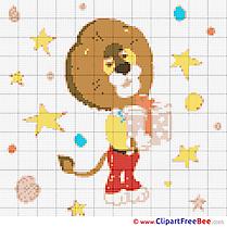 Lion free printable Cross Stitches