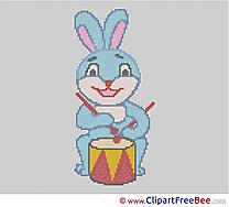 Rabbit Drum download Cross Stitch free