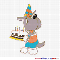 Wolf with Cake Patterns printable Cross Stitch
