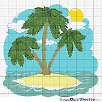 Island Palms Cross Stitch download free