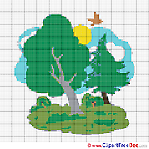 Trees printable Cross Stitches download