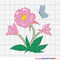 Butterfly Flower printable Cross Stitches  download