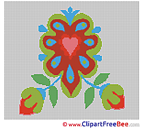 Heart Flowers download printable Cross Stitches