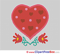 Heart printable Flowers Cross Stitches free