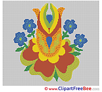 Image Flowers printable Cross Stitches free
