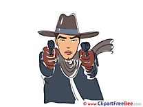Gangster Pistols Hat Cliparts printable for free