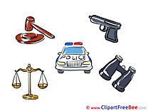 Pistol Police Car Balance Clip Art download for free