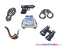 Police Car Pistol Handcuffs download printable Illustrations