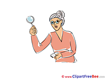 Woman Detective Loupe Clipart free Illustrations