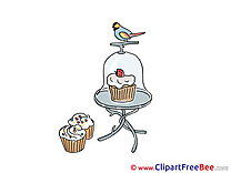 Bullfinch Cakes download printable Illustrations