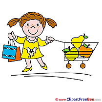 Girl Cart Shopping Clipart free Illustrations