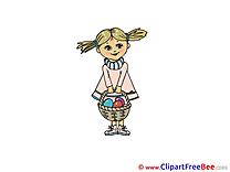 Girl Basket download Easter Illustrations