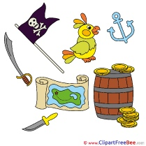 Flag Parrot Gold Knife Clipart Fairy Tale Illustrations