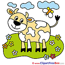 Meadow Flowers Cow Meadow Clipart free Illustrations