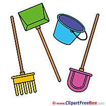 Tools Rake Shovel Bucket download printable Illustrations
