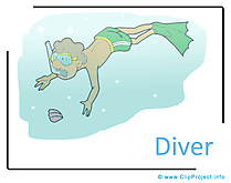 Diver Clipart Image free - Free Time Clipart Images free