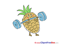Barbell Ananas Clipart free Illustrations