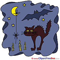 Black Cat Stars Moon Bat Halloween Clip Art for free