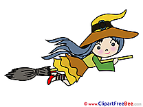 Broom Witch Girl Clipart Halloween Illustrations
