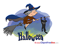 Cat Witch Broom Cliparts Halloween for free