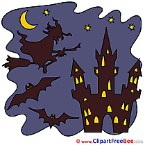 Chateau Castle Witch Pics Halloween Illustration