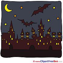 City Bats Moon Pics Halloween free Image