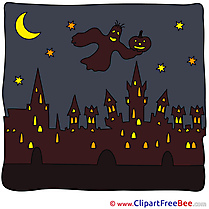 City Witch Night Halloween download Illustration