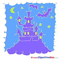 Drawing Castle Night Pics Halloween free Cliparts