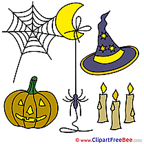 Holiday Hat Pumpkin Candles Halloween Clip Art for free