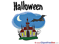House Castle Night Clipart Halloween Illustrations
