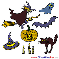 Image Pumpkin Bat Cat Clipart Halloween Illustrations