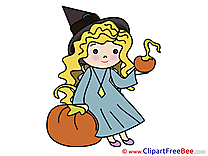 Kid Girl Witch Pumpkins free Illustration Halloween