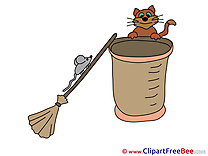 Kitten Mouse Broom Cliparts Halloween for free