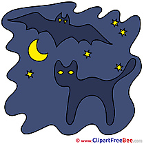 Moon Cat Bat Pics Halloween free Cliparts