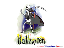 Skeleton Scythe Clipart Halloween Illustrations
