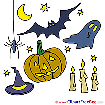 Spider Candles Pumpin Bat Cliparts Halloween for free
