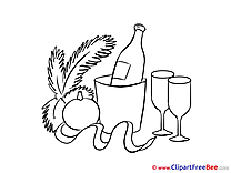 Bottle of Champagne New Year Illustrations for free