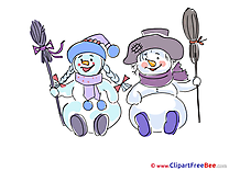 Brooms Snowmen free Cliparts New Year